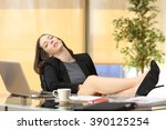 lazy or tired businesswoman... | Shutterstock . vector #390125254