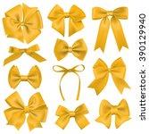 big set of realistic yellow... | Shutterstock .eps vector #390129940