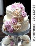 beautiful wedding cake... | Shutterstock . vector #390133489