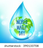 world water day on blue... | Shutterstock .eps vector #390133708