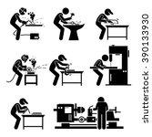 welder worker using... | Shutterstock .eps vector #390133930