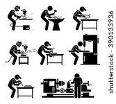 welder worker using... | Shutterstock . vector #390133936