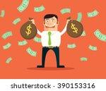 rich businessman. vector flat... | Shutterstock .eps vector #390153316