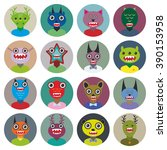 cute cartoon monsters set. big... | Shutterstock . vector #390153958