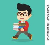 boy happy with books | Shutterstock . vector #390158926