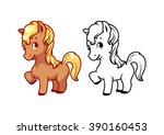 cute little pony. cartoon... | Shutterstock .eps vector #390160453