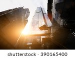 view from below of a tall... | Shutterstock . vector #390165400