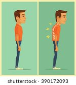 right and wrong posture. vector ...   Shutterstock .eps vector #390172093