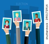 concept of election. hands hold ... | Shutterstock .eps vector #390173914