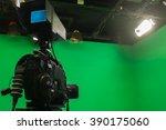 television studio with camera... | Shutterstock . vector #390175060