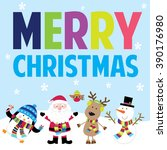 holiday card with santa and...   Shutterstock .eps vector #390176980