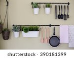 kitchenware and tree  hanging... | Shutterstock . vector #390181399