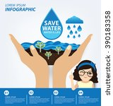 save water concept. infographic ... | Shutterstock .eps vector #390183358