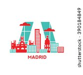 madrid city architecture retro... | Shutterstock .eps vector #390184849