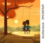 two lovers sitting on swing at... | Shutterstock .eps vector #390185569