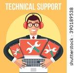 technical support. vector flat... | Shutterstock .eps vector #390189538
