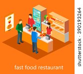 isometric fast food restaurant | Shutterstock .eps vector #390193264