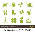 gardening icon set | Shutterstock .eps vector #390193849