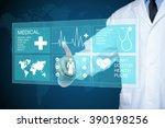 doctor touching glow heartbeat... | Shutterstock . vector #390198256