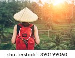 young lady with traditional... | Shutterstock . vector #390199060