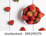 Ripe Red Strawberries On White...