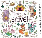 time to travel. children card... | Shutterstock .eps vector #390205498