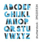 retro font in blue and grey. ... | Shutterstock .eps vector #390205534