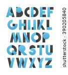 retro font in blue and gray. ... | Shutterstock .eps vector #390205840