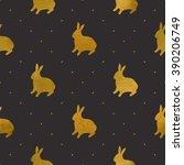 gold textured rabbits. seamless ... | Shutterstock .eps vector #390206749