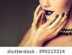 beautiful girl  model showing... | Shutterstock . vector #390215314