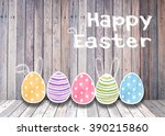 easter eggs colorful watercolor ... | Shutterstock . vector #390215860