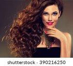 beautiful model brunette with... | Shutterstock . vector #390216250