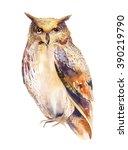 owl bird watercolor painting... | Shutterstock . vector #390219790