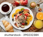 healthy breakfast ingredients ...   Shutterstock . vector #390232384
