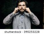 portrait elegant bearded...   Shutterstock . vector #390253228