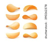 vector  set of  potato ripple...   Shutterstock .eps vector #390262378