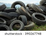 Old Tires On The Grass