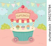 Vector Pink Cupcake Push Cart...