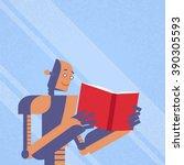 modern robot read book study... | Shutterstock .eps vector #390305593