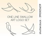 one line swallow art logo set | Shutterstock . vector #390305659