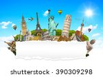 famous monuments of the world... | Shutterstock . vector #390309298