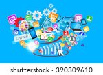 colorful devices and icons... | Shutterstock . vector #390309610