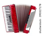 Small photo of Old red accordion isolated on a white background