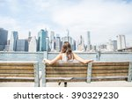woman sitting on a bench and... | Shutterstock . vector #390329230