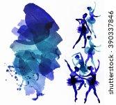 dancing ballerina in blue ... | Shutterstock . vector #390337846