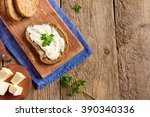 butter and bread for breakfast  ... | Shutterstock . vector #390340336