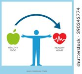 healthy heart with healthy food ... | Shutterstock .eps vector #390343774