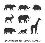 vector black set of silhouettes ... | Shutterstock .eps vector #390346960