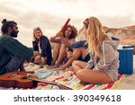 portrait of happy young people... | Shutterstock . vector #390349618