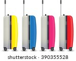 four colorful travel luggage... | Shutterstock .eps vector #390355528